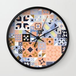 Peach and Lavender Quilt Wall Clock