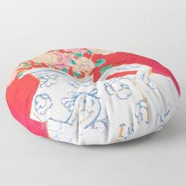Delft Bird Pitcher on Red Background Floor Pillow