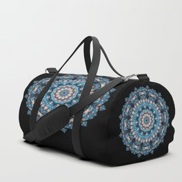 Blue kaleidoscope distant galaxy on a black background Duffle Bag