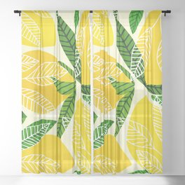 The Lemon Party II / Fruit Illustration Sheer Curtain
