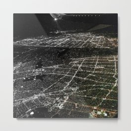 Night Flight out of Los Angeles Grey Metal Print