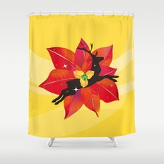 Happy Red Christmas - A Stroke of Good Fortune Shower Curtain