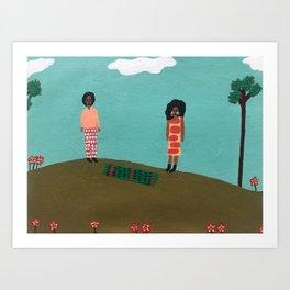 picnic on the hill Art Print