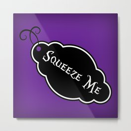 """Squeeze Me"" Alice in Wonderland styled Bottle Tag Design in 'Shy Violets' Metal Print"