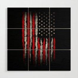 Red & white Grunge American flag Wood Wall Art