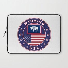 Wyoming, USA States, Wyoming t-shirt, Wyoming sticker, circle Laptop Sleeve