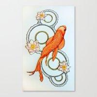 koi fish Canvas Prints featuring Koi Fish by Eleni Kakoullis