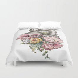 Floral Anatomy Heart Duvet Cover