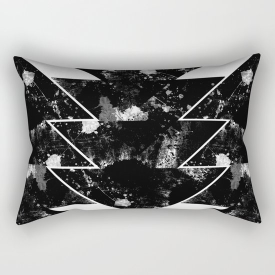 Up And Down - Black and white textured triangles, geometric, abstract Rectangular Pillow