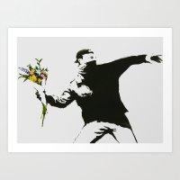 BANKSY FLOWER THROWER GRAFFITI STREET ART  Art Print