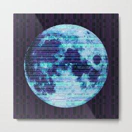 Stripey Blue Moon Metal Print