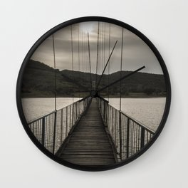 The rope bridge to the bulgarian village Lisicite art photography Wall Clock