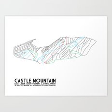 Castle Mountain, Alberta, Canada - Minimalist Trail Maps Art Print