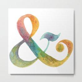 ampersand - in watercolor rainbow Metal Print