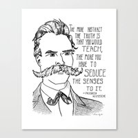 nietzsche Canvas Prints featuring Friedrich Nietzsche by Alexandra Ensign