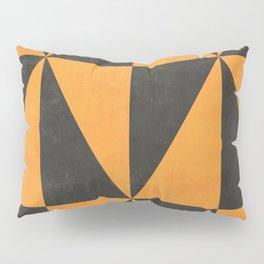 Geometric Triangle Pattern - Yellow, Gray Pillow Sham