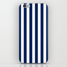 Navy and White Small Even Stripes iPhone Skin