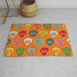 sew skully orange Rug