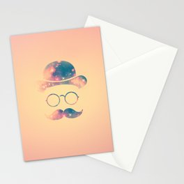 Retro Face with Moustache & Glasses / Universe - Galaxy Hipster Stationery Cards
