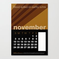 2013 Pigment to Pantone Calendar – NOVEMBER Canvas Print