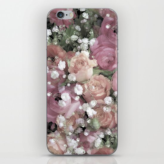 vintage pastel flowers iPhone & iPod Skin