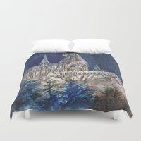 hogwarts Duvet Covers featuring Hogwarts Painting  by Christina Brunnock