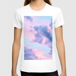 Pastel Purple Lilac Fluffy Fantasy Fairytale Sunset Clouds In The Sky T-shirt