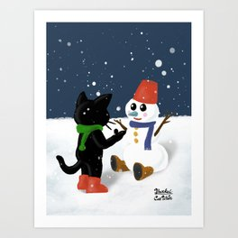 Talk to snowman Art Print