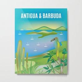 Antigua & Barbuda - Skyline Illustration by Loose Petals Metal Print