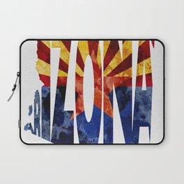 Arizona Typographic Flag Map Art Laptop Sleeve