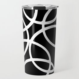 Interlocking White Circles Artistic Design Travel Mug