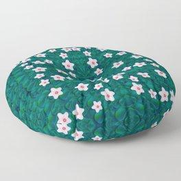 porcelain flowers  on leaves Floor Pillow