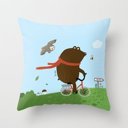 The Bear goes to the City Throw Pillow