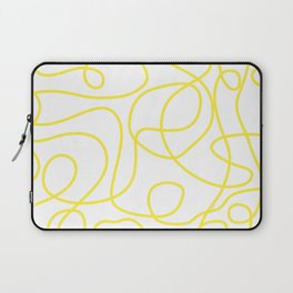 Doodle Line Art | Bright Yellow Lines on White Background Laptop Sleeve