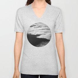 Intense Fog & Mountain Silhouette Black & White Round Photo Unisex V-Neck