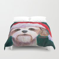 shih tzu Duvet Covers featuring Christmas Shih Tzu By Annie Zeno by Annie Zeno