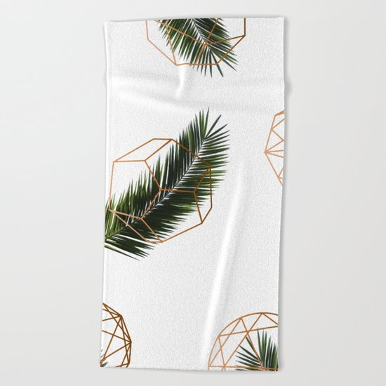 Palm + Geometry V2 #society6 #decor #buyart Beach Towel