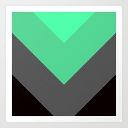 Mint Green Gray Chevron Stripes Art Print