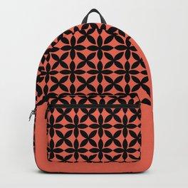 Black Square Petal Pattern on Pantone Living Coral Backpack