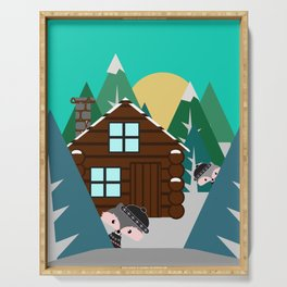 Winter cabin in the woods Serving Tray