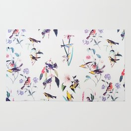 Vintage chic pink teal purple floral birds pattern Rug