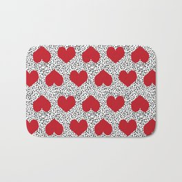 Hearts pattern black and white scattered painted dots minimal valentines day gifts Bath Mat