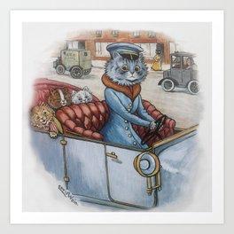 Louis Wain - The Cat Chauffeur Art Print