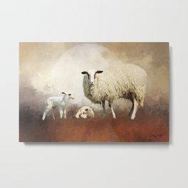 Twin Lambs Moon Rise Metal Print