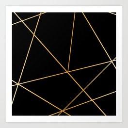Geometric black gold Art Print