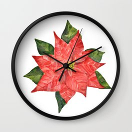 Christmas pointsettia Wall Clock