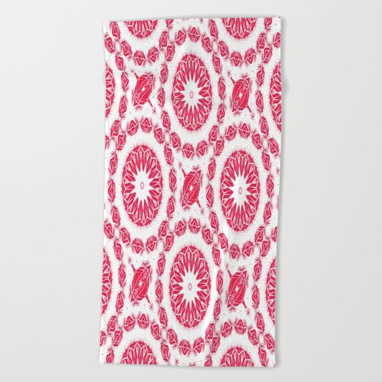 Ruby Mandala Tile Beach Towel