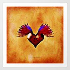 FLYING SKULL HEART Art Print