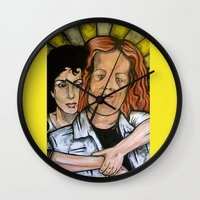 mask Wall Clocks featuring Mask  by Portraits on the Periphery