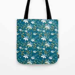 White flowers on a blue background . Tote Bag